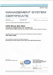 CMS Wires ISO 9001:2008